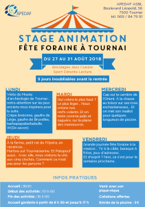 Stage aout 2018 Tournai - flyer