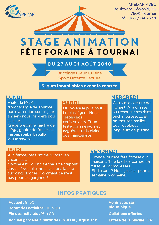 Stage aout 2018 Tournai - flyer